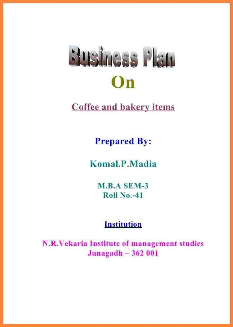 Business plan cover page