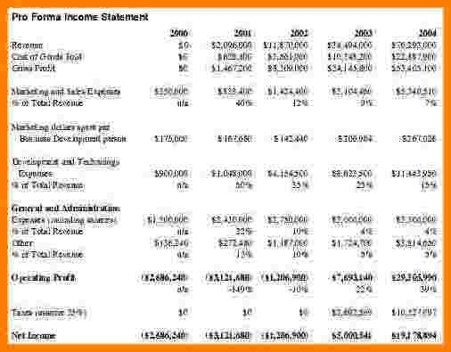 10+ simple pro forma income statement | Case Statement 2017