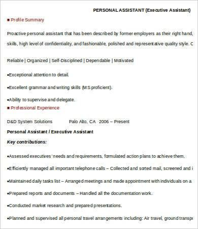 Personal Assistant Resume - 4 Free Word, PDF Documents Download ...