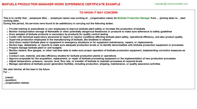 Biofuels Production Manager Work Experience Certificate
