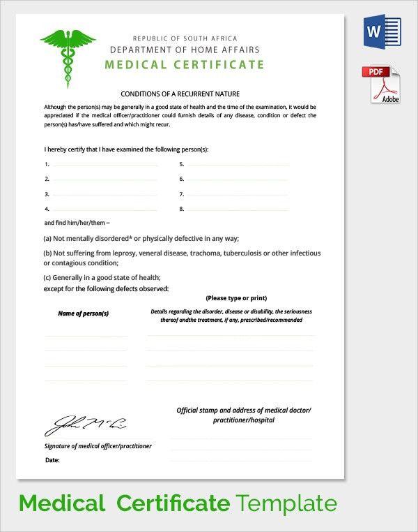 Doc.#587741: Medical Certificate Download – 6 Free Medical ...
