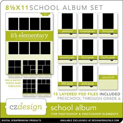 School Album Layered Template Set (12 x 12 )- Cathy Zielske - PSE ...