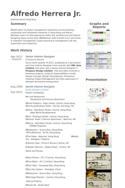 Interior Designer Resume samples - VisualCV resume samples database