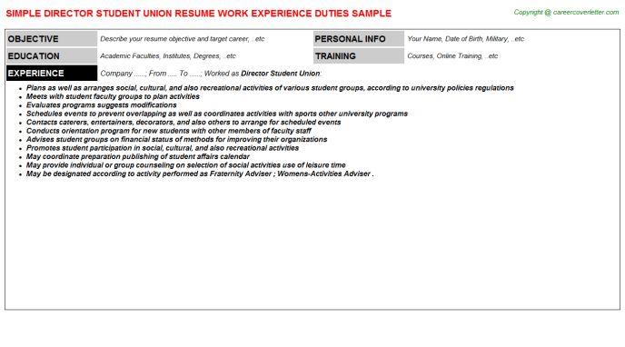 Director Student Union Resume Sample