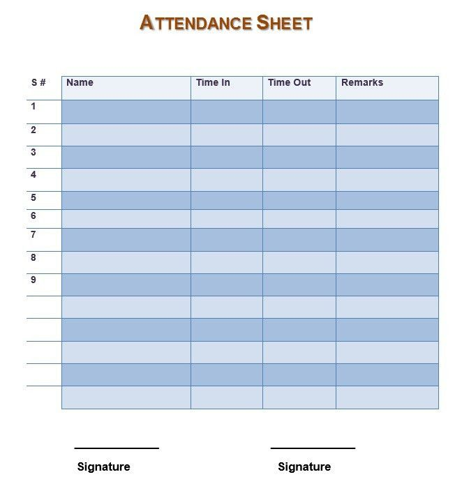 7 Free Sample Teacher's Attendance Sheet Templates – Printable Samples