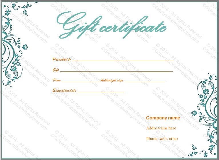 Reward Gift Certificate Template - GCT