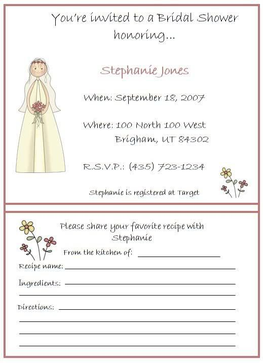 sample ideas bridal shower invitations with recipe cards dress ...