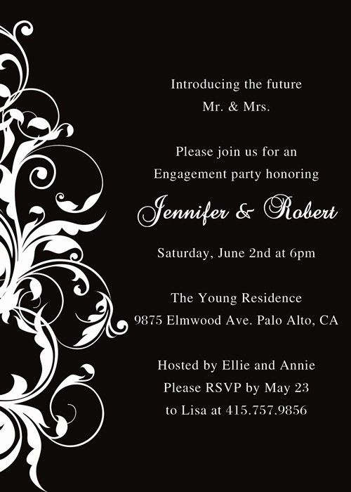 black and white affordable engagement party invitation EWEI002 as ...