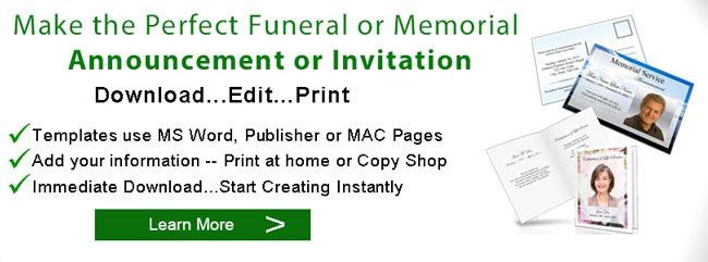 Funeral Announcements | Memorial Announcement Template | Obituary