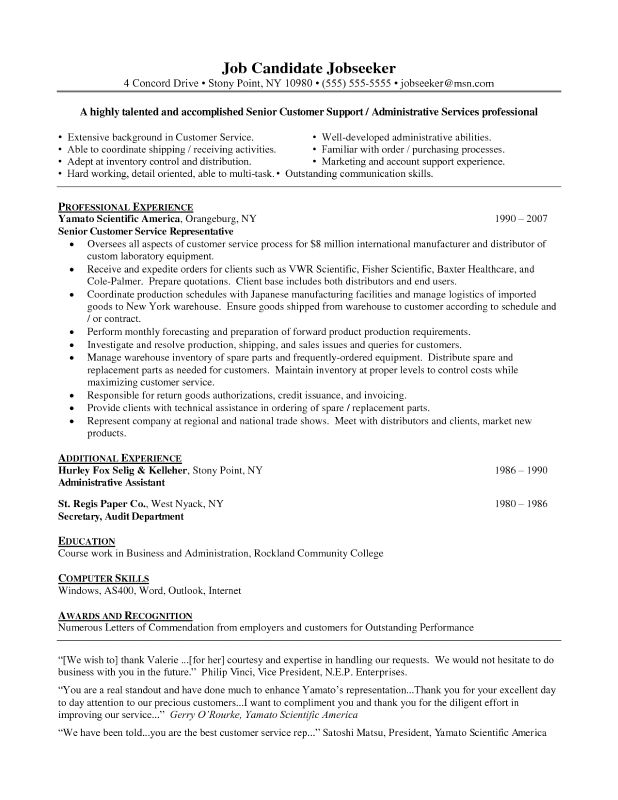 cover letter Resume Summary Examples Customer Service customer ...