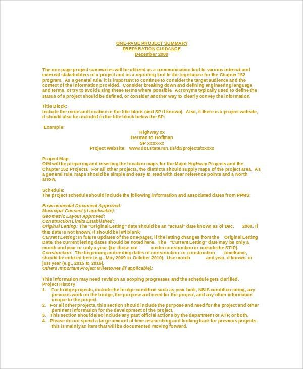 Sample Project Summary Template. Project Summary Document Template ...