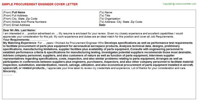Procurement Engineer Cover Letter