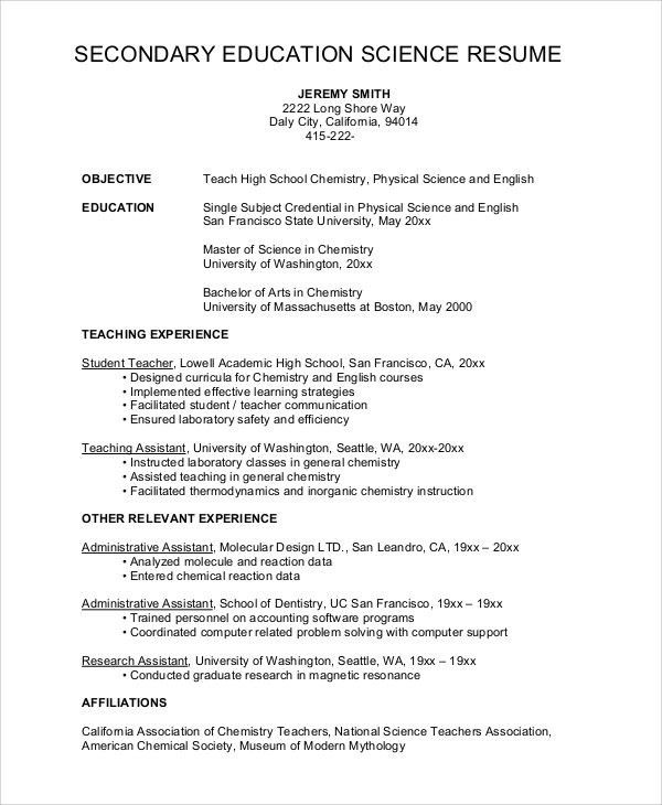 High School Science Teacher Resume - Best Resume Collection