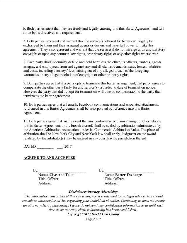 Barter Agreement