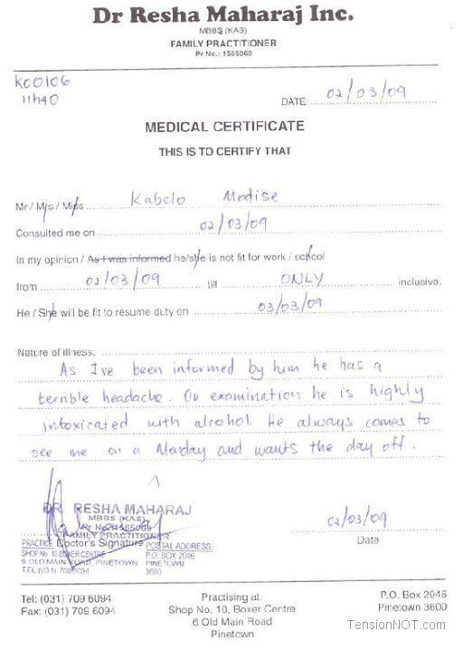 free doctors note