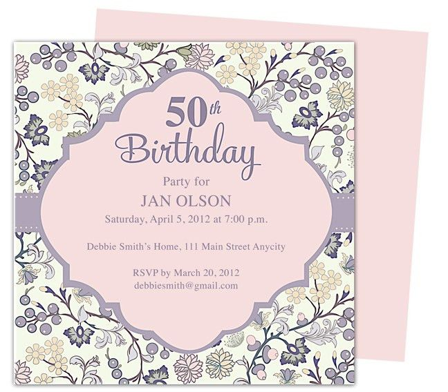 Beautiful and elegant 50th birthday party invitations: Templates ...