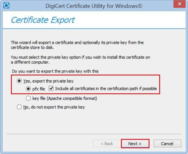 PFX Certificate Export | Certificate Utility | DigiCert.com