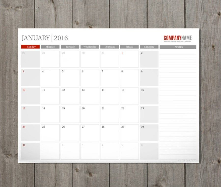 Monthly desk and wall planner template design PM-W4a | Plannig ...