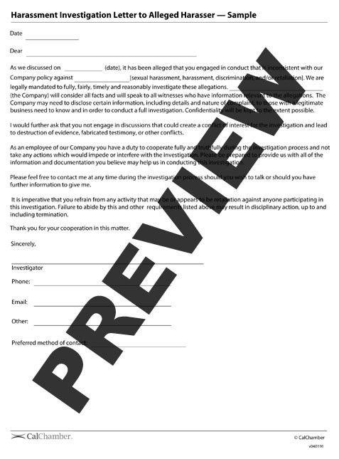 Harassment Investigation Letter to Alleged Harasser - HRCalifornia