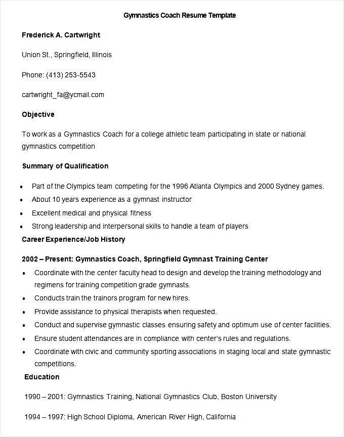 Sample Gymnastics Coach Resume Template - Free Samples , Examples ...