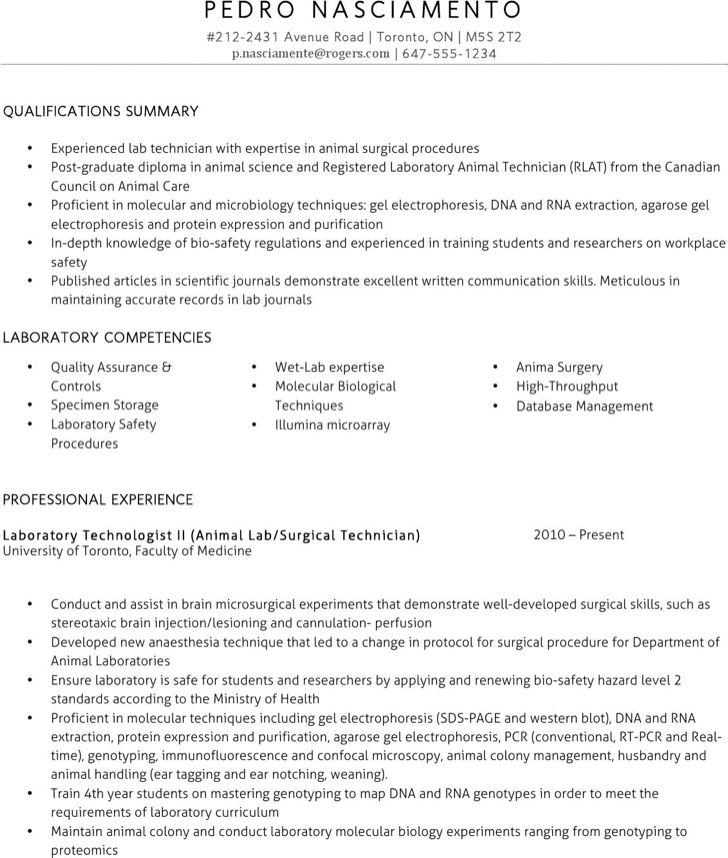 sample lab technician resume business project proposal template ...