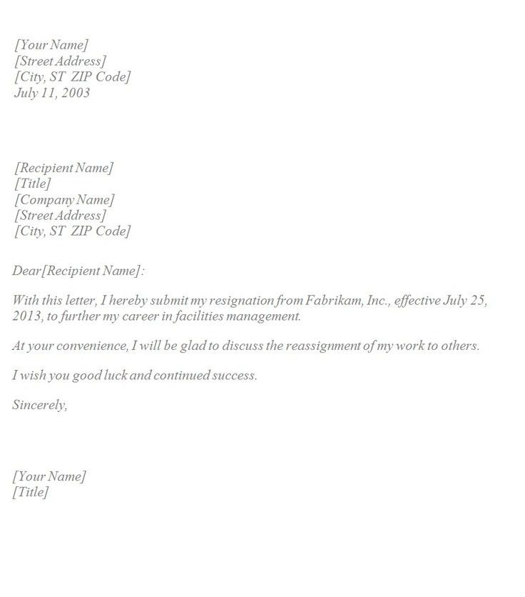 simple letter of resignation template classy resignation letter ...