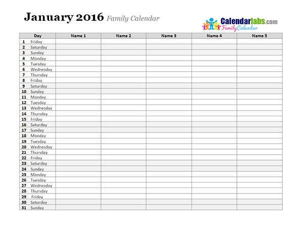 2016 Monthly Planner Template - Free Printable Templates