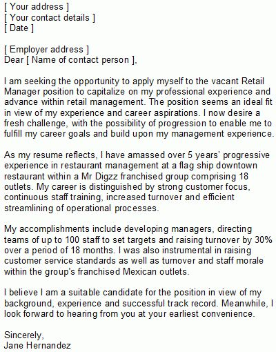 Retail Manager Covering Letter Sample