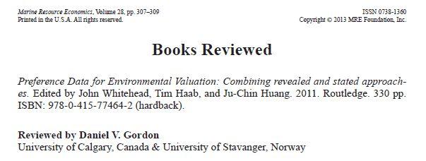 Environmental Economics: Book Reviews