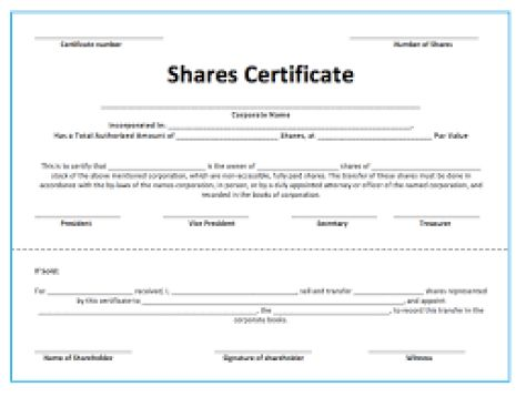 Top 4 Resources To Get Free Share/Stock Certificate Templates ...