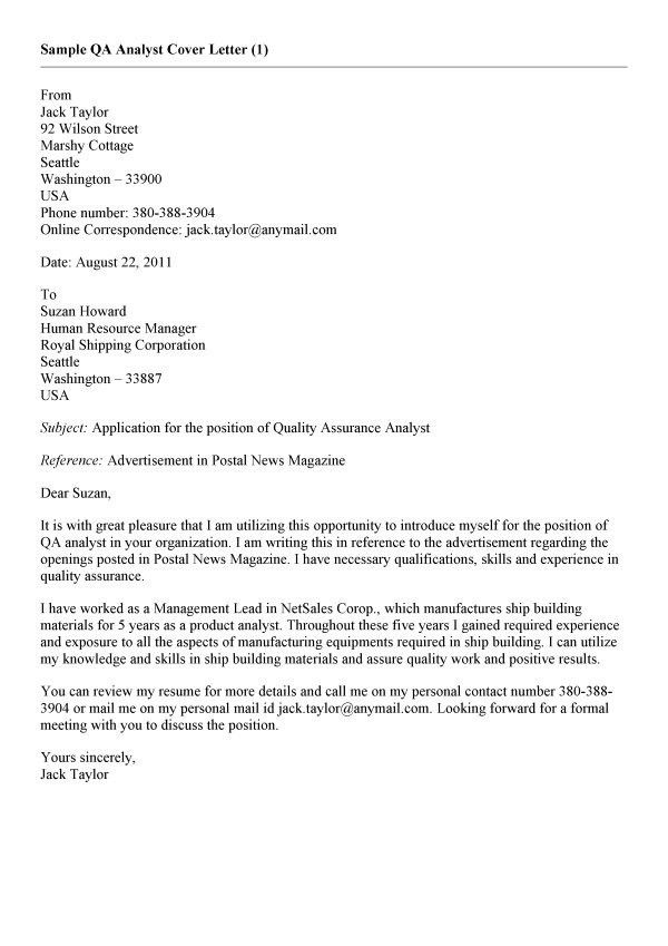 28+ [ Quality Assurance Cover Letter ] | Cover Letter Quality ...