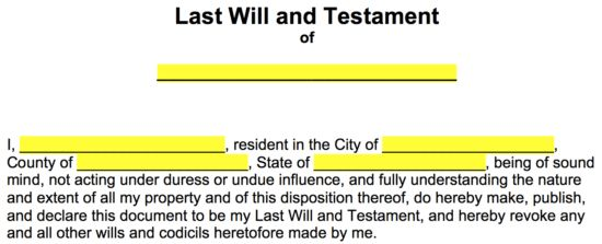 """Free Last Will and Testament Templates - a """"Will"""" - PDF 