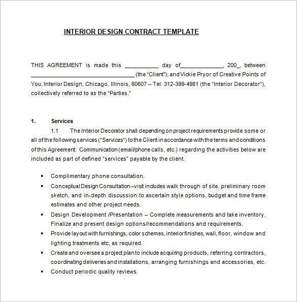 Interior Design Contract Template. Sample Interior Design Contract ...