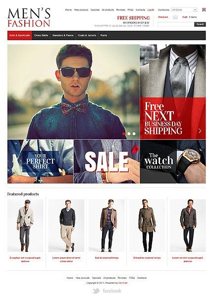 Website Templates Online Shop Men Fashion Clothes Shirt Custom ...