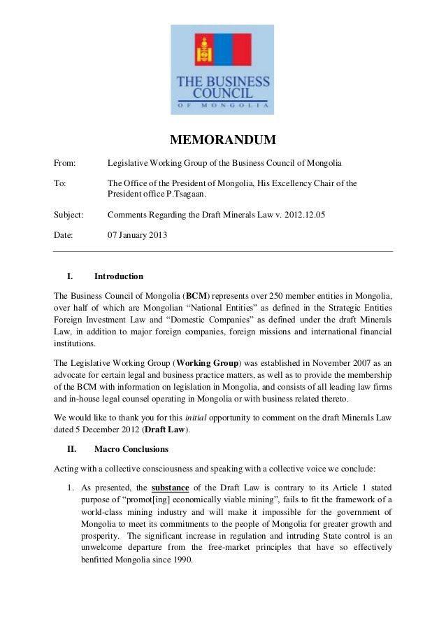 07.01.2013, Cover letter & Summary of BCM Memorandum, BCM