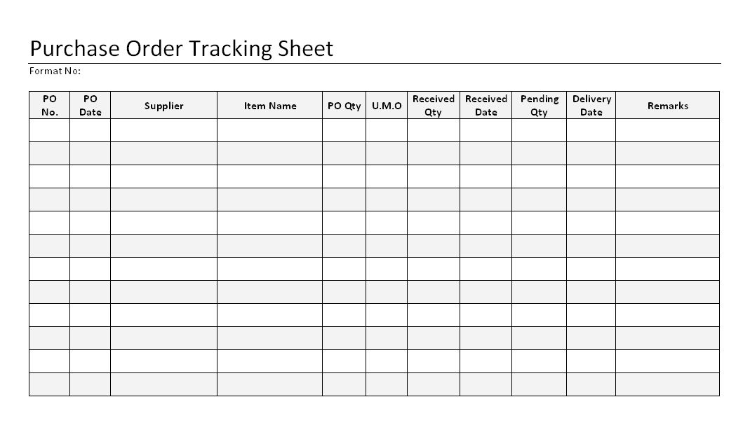 Purchase Order Tracking Sheet format| Samples | Word Document Download