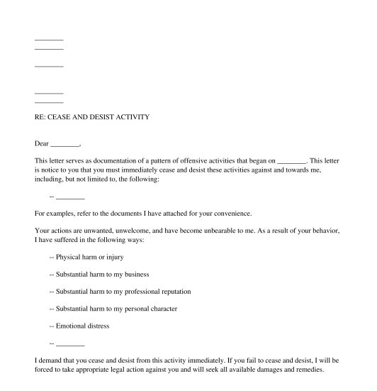 General Purpose Cease and Desist Letter - Template