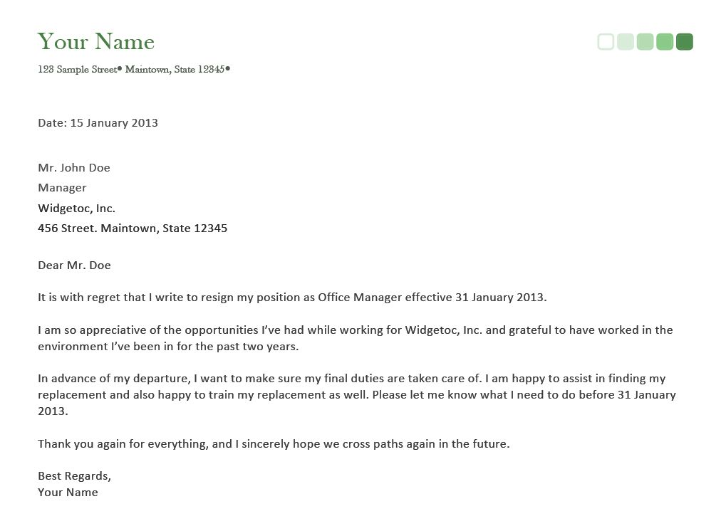 Resignation Letter Format: perfect sample writing letter of ...