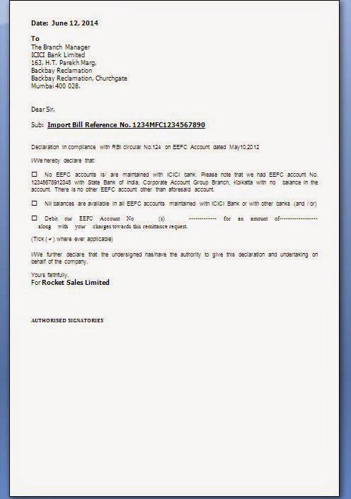RBI EFFC DECLARATION LETTER FORMAT   citehrblog