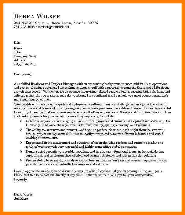 business plan cover letter cover letter format in business plan ...
