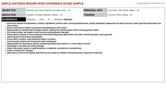 duties of a waitress resumes template duties of a waitress resumes ...