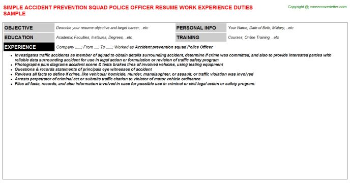 accident prevention squad police officer resume sample
