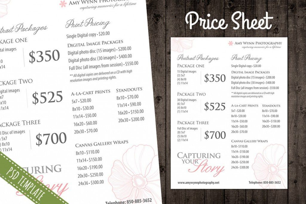 Modern Photography Price List Template Deals | InfoParrot