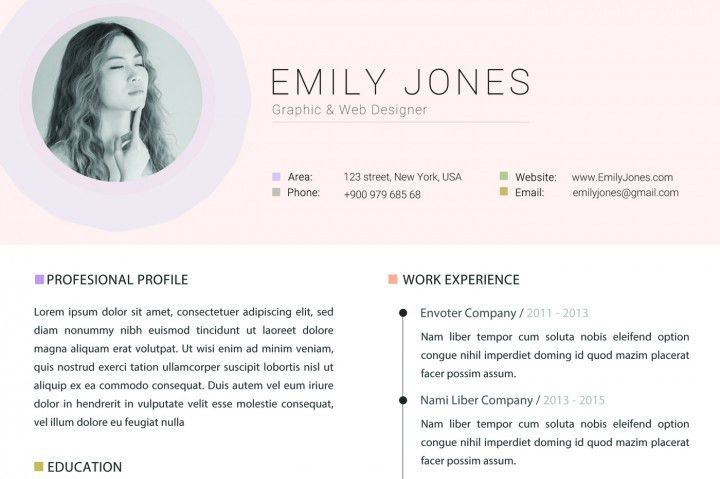 Colors Resume Template - Modern & Clean CV / Cover Letter Template ...