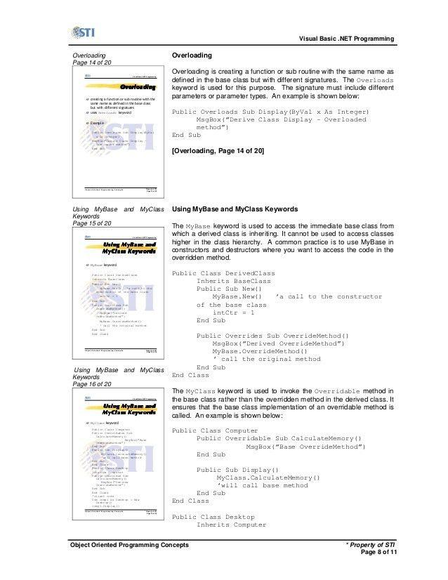 MELJUN CORTES Vb.net handout object-oriented programming concepts