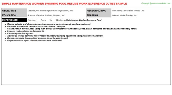 Maintenance Worker Swimming Pool Resume Sample