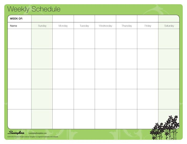 Weekly Schedule Template | aplg-planetariums.org