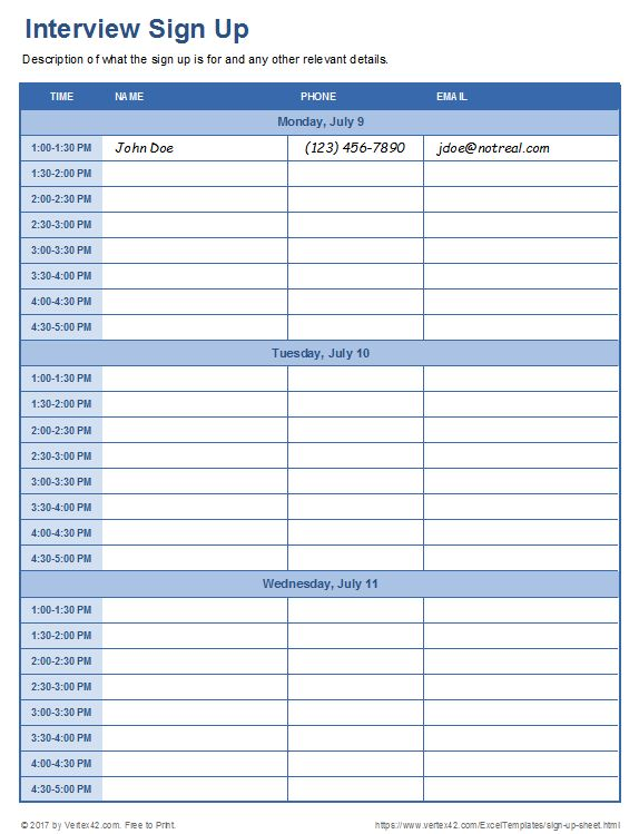 Sign Up Sheets - Potluck Sign Up Sheet