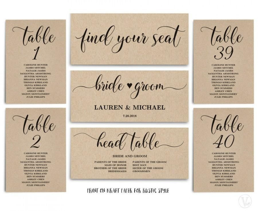Rustic Wedding Seating Chart Template, Header Signs And Table ...