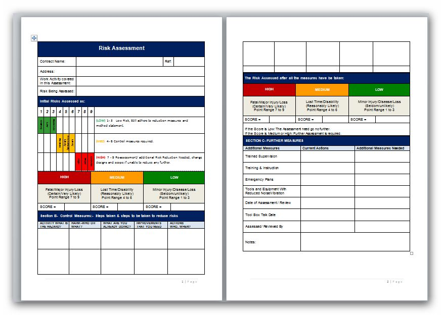 Blank Risk Assessment Template with Matrix